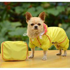 Pláštěnka pro psa v pouzdře - žlutá, XS