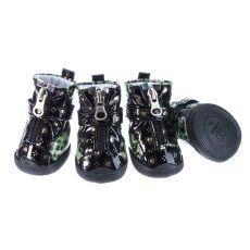 Boty pro psy - leopardí lesklé - zelené, M