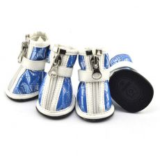 Boty pro psy – stříbrný potisk – modré, L