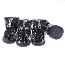 Boty pro psy - leopardí s kožešinkou - béžové, XL