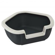 Rohová toaleta pro kočky DAMA - černá - 57,5 x 51,5 x 22 cm