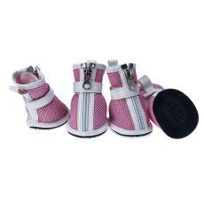Boty pro psy - síťované růžové, zip, L