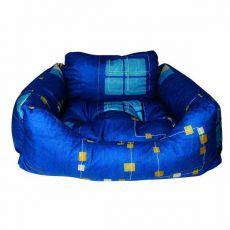 Pelech pro psa - hranatý, modrý, 75x60x23 cm