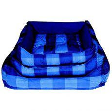 Pelech pro psa - hranatý, modrý károvaný, 60x45 cm