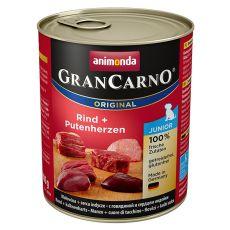 Konzerva GranCarno Fleisch Junior hov. + krůtí srdce - 800 g