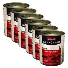 Konzerva GranCarno Fleisch Junior hov. + krůtí srdce - 6 x 800 g