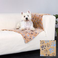 Deka pro psy LASLO - béžová s tlapkami, 100 x 70 cm