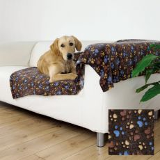 Deka pro psy LASLO - hnědá s tlapkami, 100 x 70 cm