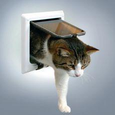 Dvířka pro kočky s tunelem - bílá, 21 x 21 cm