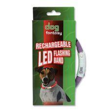 LED obojek pro psy DOG FANTASY - fialový, 45 cm