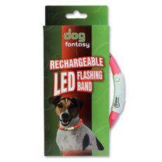 LED obojek pro psy DOG FANTASY - růžový, 70 cm